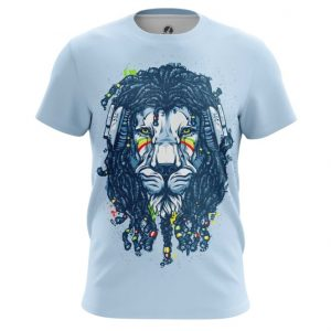 Merchandise Rastafari T-Shirt Lion Animal Stule Blue