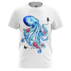 Merch T-Shirt Octopus Floral Blue White