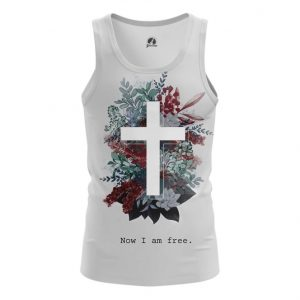 Merch Tank Cross Now I Am Free Sign Vest