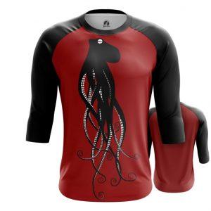 Merch Raglan Black Octopus Dark Red
