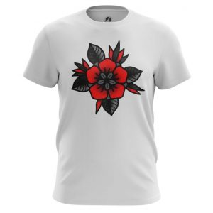 Merchandise T-Shirt Red Rose Flower Minimalist Top