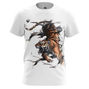 Collectibles T-Shirt Tiger Hunting Predator White