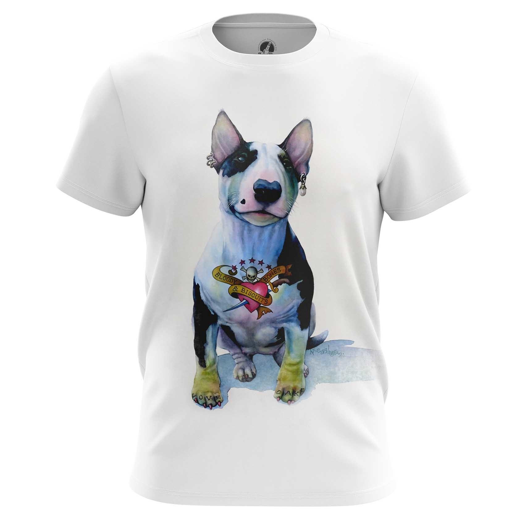 Merch T-Shirt Bull Terrier Hipster Dog