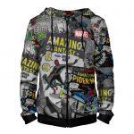 - People 4 Man Hoodie Jacket Front Black 700 1