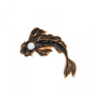 Merch Pin Dream Fish Black Enamel Brooch