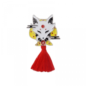 Merchandise Pin Japanese Traditional Fox Enamel Brooch