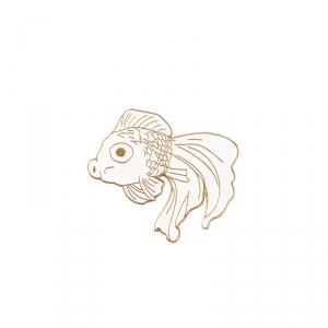 Merchandise Pin Japanese Fish White Enamel Brooch