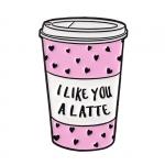 Merch Pin Coffee Pink Glass Latte Enamel Brooch