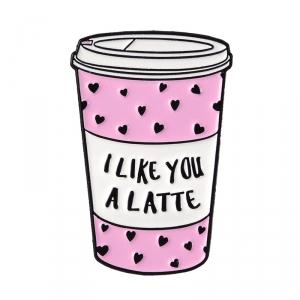 Merchandise Pin Coffee Pink Glass Latte Enamel Brooch