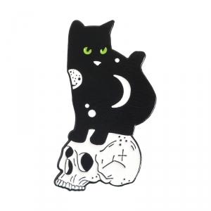 Merch Pin Night Cat And Skull Enamel Brooch