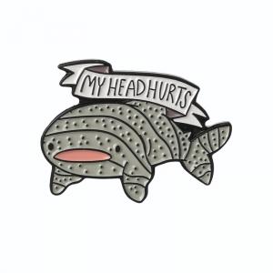 Merch Pin My Head Hurts Tiger Shark Enamel Brooch