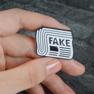 Merchandise Pin Fake News Enamel Brooch