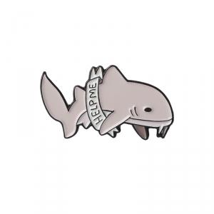 Merch Pin Help Me Shark Enamel Brooch