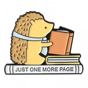 Merch Pin Just One More Page Hedgehog Enamel Brooch
