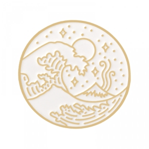Merchandise Pin White Great Wave Off Kanagawa Enamel Brooch