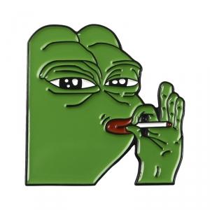 Merchandise Pin Pepe Smoking Meme Enamel Brooch