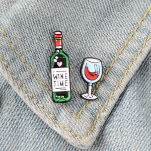 Collectibles Pin Set Wine Time Enamel Brooch