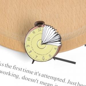 Merchandise Pin Clock Book Enamel Brooch