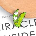 Merchandise Pin Cute Peas Green Enamel Brooch