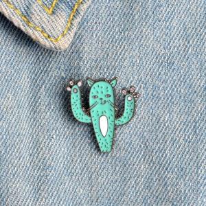 Merchandise Pin Cactus Cat Green Enamel Brooch