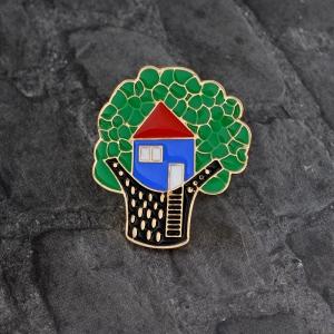 Merchandise Pin Tree House Enamel Brooch