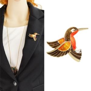 Merchandise Brooch Hummingbird Orange