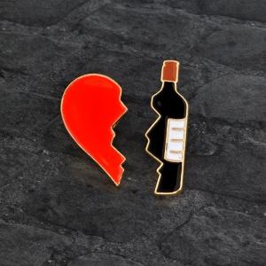 Merchandise Pin Set Love Wine Enamel Brooch