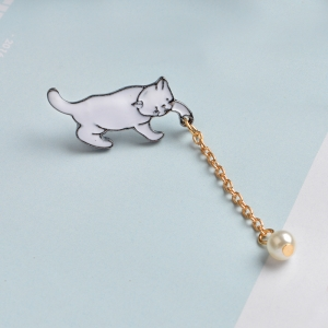 Merchandise Pin Cat With A Bead White Enamel Brooch