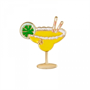 Collectibles Pin Beach Cocktail Yellow Enamel Brooch