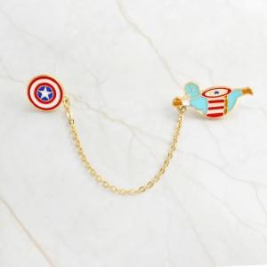 Merchandise Pin Fat Captain America On Chain Enamel Brooch