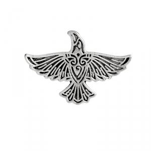Merch Pin Scandinavian Raven Silver Left Enamel Brooch