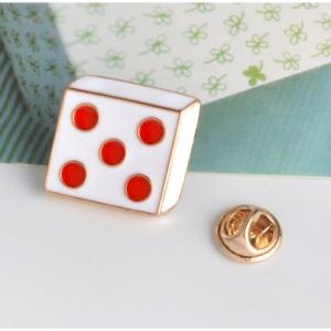 Merchandise Pin Dice Five Dots White Enamel Brooch
