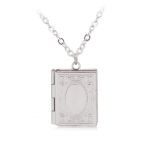 Collectibles Necklace Book Shaped Openable Pendant Silver