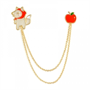 Merchandise Pin Wolf And Apple Chain Enamel Brooch
