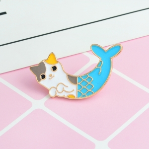 Merchandise Pin Cat Mermaid Enamel Brooch