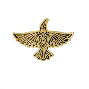 Merch Pin Scandinavian Raven Gold Right Enamel Brooch