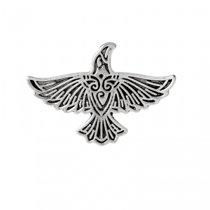 Merch Pin Scandinavian Raven Silver Right Enamel Brooch