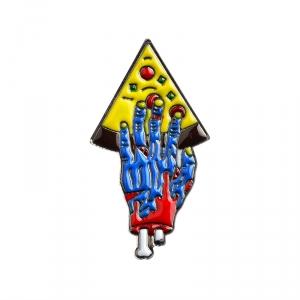 Merch Pin Pizza For Zombie Blue Enamel Brooch