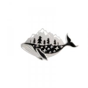 Merch Pin Whale Mountain Silver Enamel Brooch