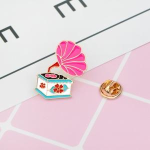 Merchandise Pin Gramophone Pink Enamel Brooch