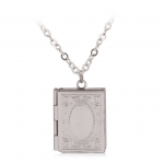 Merchandise Necklace Book Shaped Openable Pendant White