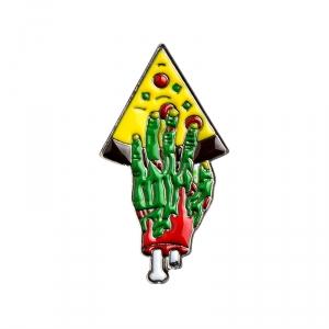 Merch Pin Pizza For Zombie Green Enamel Brooch