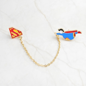 Collectibles Pin Fat Superman On Chain Enamel Brooch