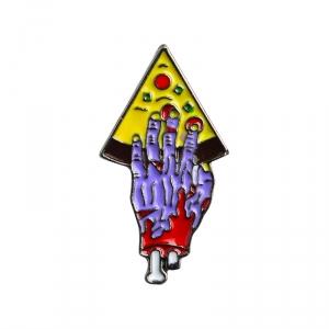 Merch Pin Pizza For Zombie Purple Enamel Brooch