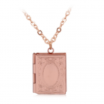 Merch Necklace Book Shaped Openable Pendant Pink