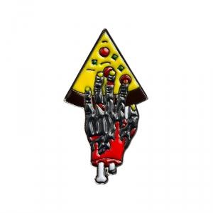 Merch Pin Pizza For Zombie Black Enamel Brooch