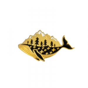 Merch Pin Whale Mountain Gold Enamel Brooch