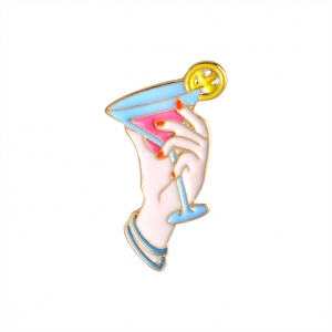 Collectibles Pin Beach Cocktail Pink Enamel Brooch