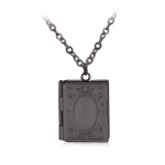 Merch Necklace Book Shaped Openable Pendant Black