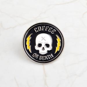 Collectibles Pin Coffee Or Death Enamel Brooch